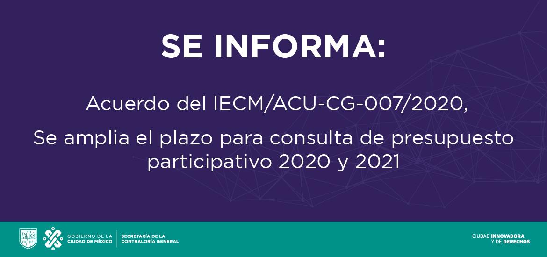 Imagen con texto Se amplía el plazo para la consulta de presupuesto participativo 2020 y 2021