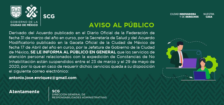 Suspension de servicios al publico del 23 de marzo al 29 de mayo