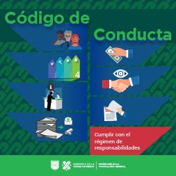 Imagen con texto: Código de conducta de la Secretaría de la Contraloría General