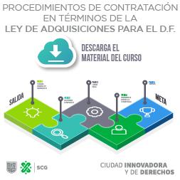 Imagen con texto: Procedimientos de Contratación en términos de la Ley de Adquisiciones para el DF